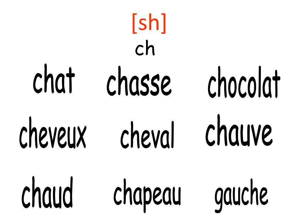 [sh] ch chat chasse chocolat chauve cheveux cheval chaud chapeau